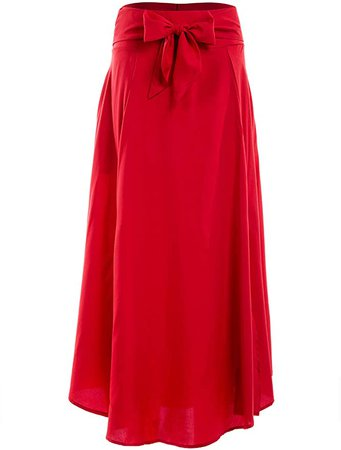 Women High Waist Flared Long Skirt with Bow, Red A-line Flared Long Skirt (Red, M) at Amazon Women's Clothing store