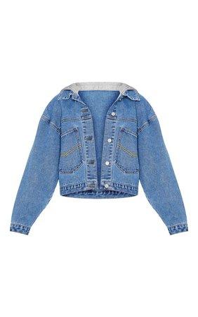 Mid Wash Hooded Oversized Denim Jacket   PrettyLittleThing