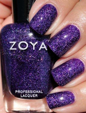 zoya purple glittery nail polish