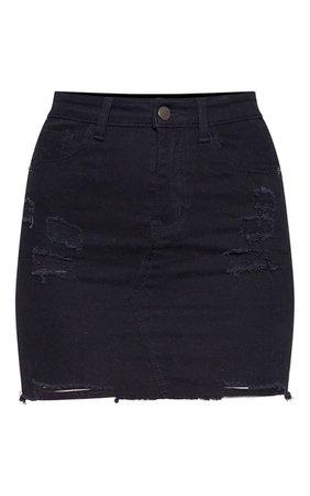 Black Distressed Denim Stretch Skirt | Denim | PrettyLittleThing USA