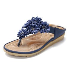 Women Beach Soft Suede Flower Flip Flops Flat Slippers Online - NewChic