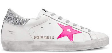 Superstar Glittered Distressed Leather Sneakers - White
