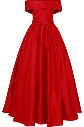 Off-the-shoulder Gathered Duchesse-satin Gown