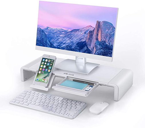 Amazon.com : Monitor Stand Riser, Jelly Comb Foldable Computer Monitor Riser, Computer Stand with Storage Drawer, Phone Stand for Computer, Desktop, Laptop, Save Space (White) : Office Products