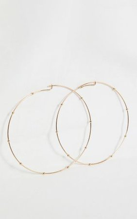 Gold Oversized Beaded Hoop Earrings   PrettyLittleThing