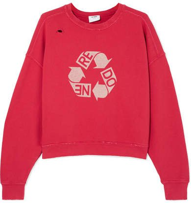 Cropped Distressed Printed Cotton-jersey Sweatshirt - Red