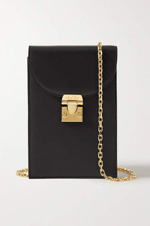 Francis Leather Shoulder Bag - Black
