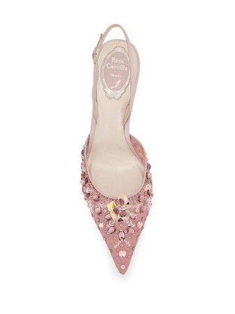 Pink René Caovilla Cinderella 75 slingback pumps C10474075PI017018 - Farfetch