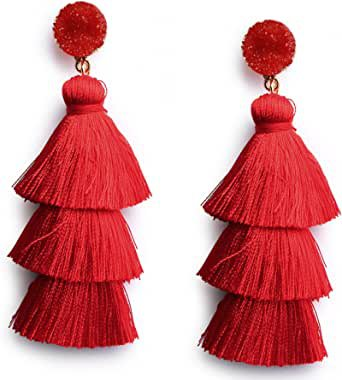 Amazon.com: Red Thread Tassel Earrings Statement Layered Fringe Chandelier Dangle Drop Earrings for Women Girls Stud Post Christmas New Year Costumed Jewelry Valentines Day Gift for Her: Clothing