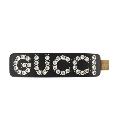 GUCCI Embellished logo hair clip