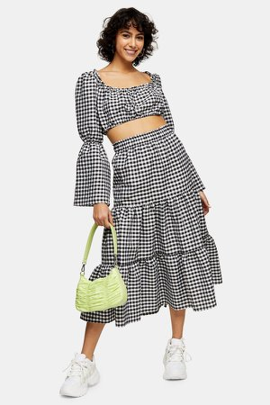 Black and White Gingham Tiered Skirt