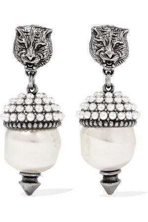 Gucci | Silver-tone faux pearl earrings | NET-A-PORTER.COM