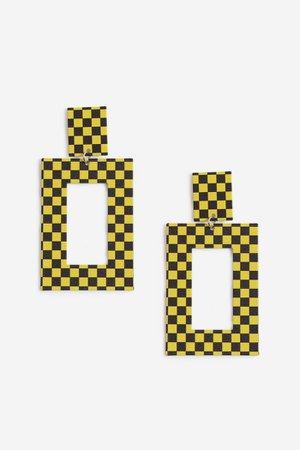 Rectangle Checkboard Earrings   Topshop