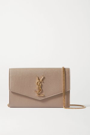 Beige Uptown textured-leather shoulder bag | SAINT LAURENT | NET-A-PORTER