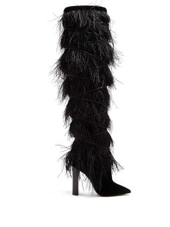 Yeti feather-embellished over-the-knee boots   Saint Laurent   MATCHESFASHION.COM US