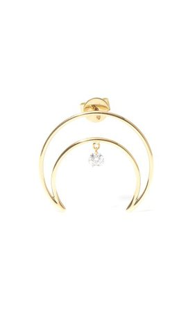 18k Yellow Gold Moon Diamond Earrings By Persée | Moda Operandi