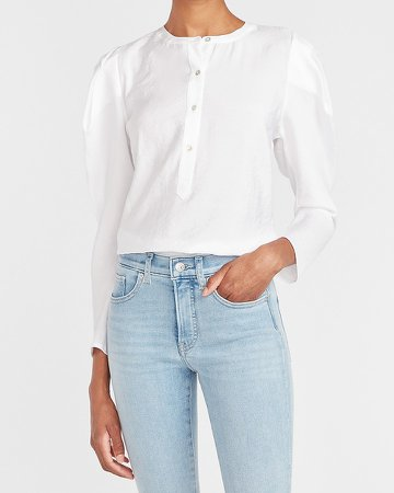 Puff Sleeve Button Front Top