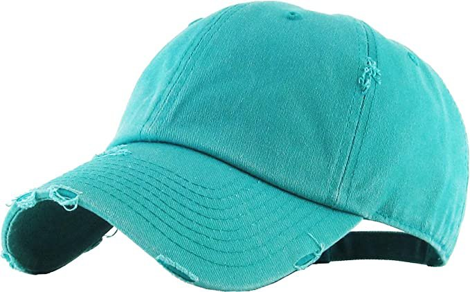 *clipped by @luci-her* KBE-Vintage BDM Vintage Washed Cotton Dad Hat Baseball Cap Polo Style Aqua: Clothing