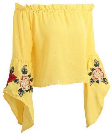 """Belle"" Yellow Bell Sleeve Top"