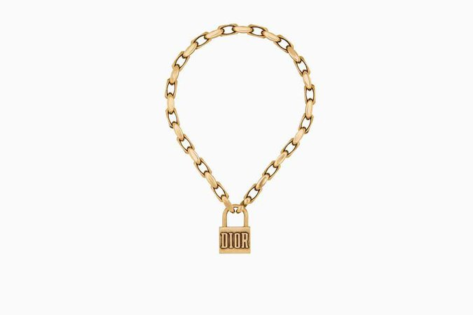 Dior Lucky locket necklace in aged gold-tone metal - Dior