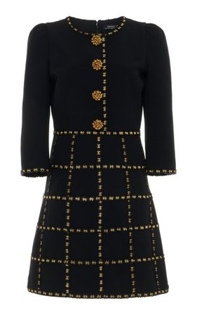 Button-Embellished Check-Detailed Crepe Mini Dress By Andrew Gn   Moda Operandi