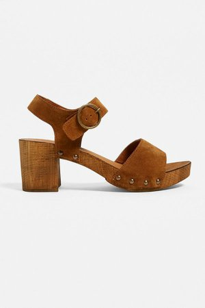 UO Alana Wood + Leather Sandal