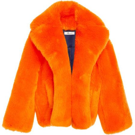 Orange Faux Fur Jacket