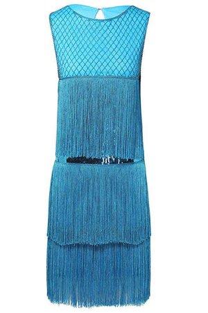 BABEYOND 1920s Flapper Dress Long Fringe Gatsby Dress Roaring 20s Sequins Beaded Dress Vintage Art Deco Dress (Blue, Large) at Amazon Women's Clothing store: