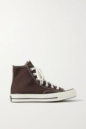 Dark brown Chuck Taylor All Star 70 canvas high-top sneakers   Converse   NET-A-PORTER