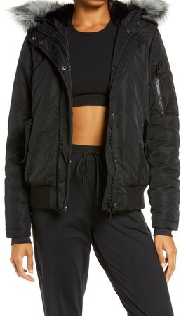 Flight Hooded Bomber Jacket with Faux Fur Trim