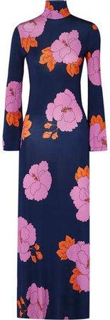 Brigitte Floral-print Stretch-jersey Dress - Navy