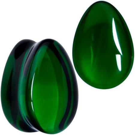 Solid Green Glass Teardrop Plug Set – BodyCandy