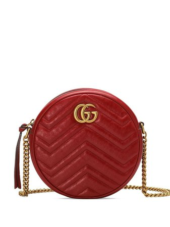 Gucci Red GG Marmont Mini Leather Round Shoulder Bag - Farfetch