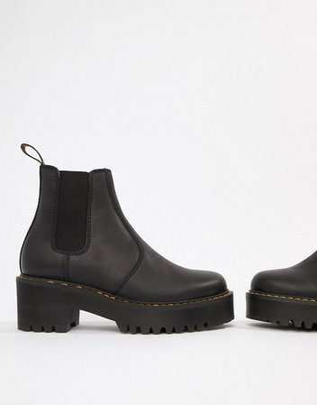 Dr Martens Rometty Black Leather Heeled Chelsea Boots | ASOS