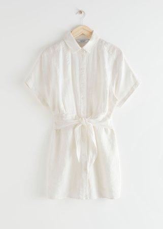 Belted Linen Mini Dress - White - Mini dresses - & Other Stories