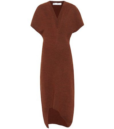 Curved-hem knit midi dress