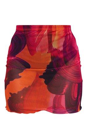 Orange Printed Sheer Mesh Mini Skirt   PrettyLittleThing USA