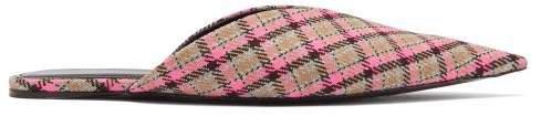 Knife Check Wool Backless Flats - Womens - Multi