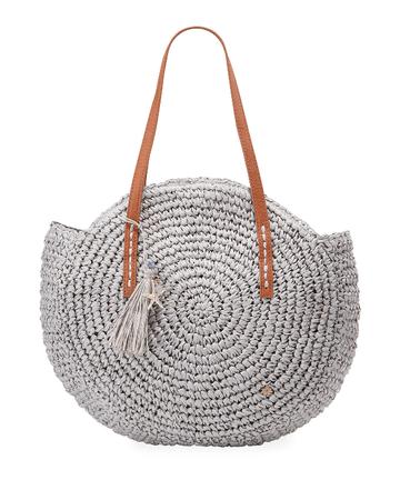 Cappelli Straworld Circular Woven Straw Shoulder Bag, Gray | ModeSens
