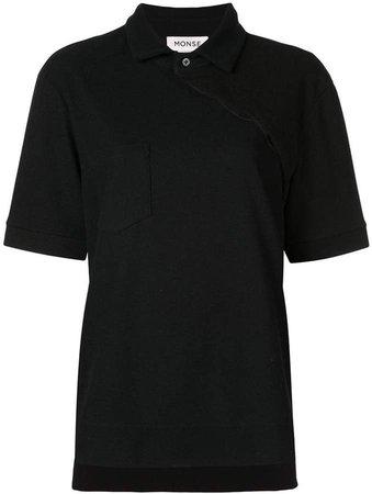 asymmetric buttoned polo shirt