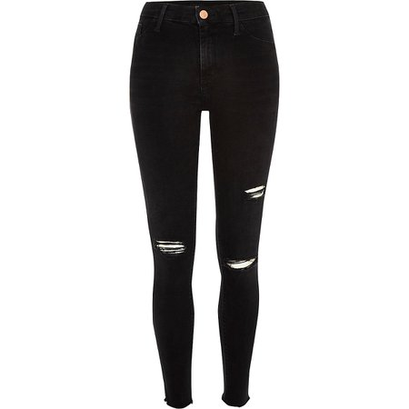 Black wash ripped mid rise Molly jeggings - Jeggings - Jeans - women
