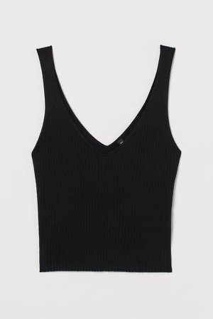 Ribbed Camisole Top - Black