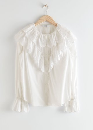 Relaxed Embroidered Ruffle Button Up Blouse - White - Blouses - & Other Stories