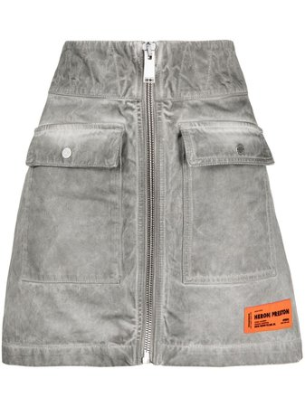 Shop Heron Preston zip-up logo denim skirt with Express Delivery - Farfetch