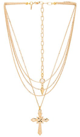 Vanessa Mooney Valeria Layered Cross Necklace in Gold | REVOLVE