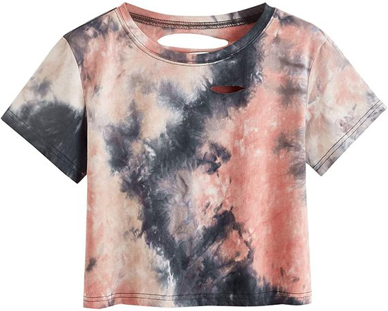 SweatyRocks Women's Short Sleeve Distressed Crop T-Shirt Summer Tops Army Green X-Large at Amazon Women's Clothing store