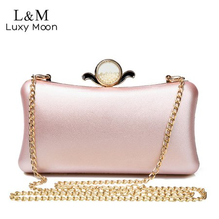 Luxury Gold Silver Evening Purse Women Pink PU Leather Pearl Hand Bag Chain Shoulder Day Clutch Bags Handbag bolso Black XA841H-in Evening Bags from Luggage & Bags on Aliexpress.com   Alibaba Group