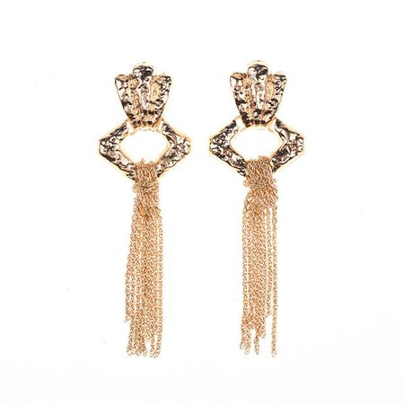 """Cindy"" Vintage Gold Dangly Metal earrings – Socialitte"