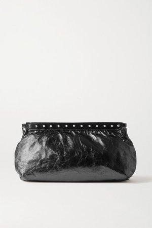 Luz Studded Metallic Crinkled-leather Clutch - Black