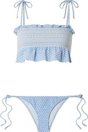 Lisa Marie Fernandez | Selena smocked polka-dot stretch-crepe bikini top | NET-A-PORTER.COM